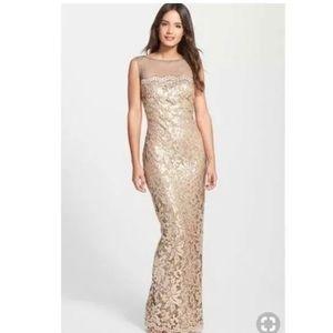 Tadashi Shoji Rose Gold Sequin Formal Gown NWOT 16